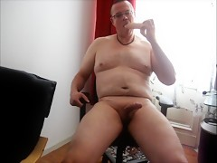 Man play with dildo and jerk cock